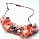 Colier textil tip Guler Floral Make a Statement! roz Vintage Style
