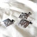 Cercei tortite argint din metal platinat si sfera de onix negru cu pandantiv cadou