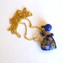 Colier pandant Cloisonne Blue Coeur