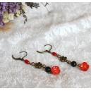 Cercei Flori Coral Rosu si Onix Negru