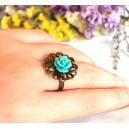 Inel Fleur d'un joli jardin trandafir turcoaz
