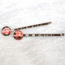 Agrafa de Par Stil Vintage Bronz Antichizat Cabochon Trandafiri Roz/Pink Roses