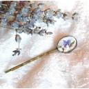 Agrafa de Par Stil Vintage Bronz Antichizat Cabochon Sticla Motive Florale Mov