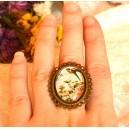 Inel Mare Reglabil Stil Vintage Shabby Chic Cabochon Sticla Personalizat Print Imagine Flori cu Pasare