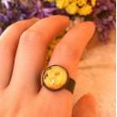 Inel Reglabil Stil Vintage pe Baza Solida Cuprata Antichizata cu Cabochon Sticla Print Motive Florale / Trandafir Galben