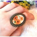 Inel Mare Reglabil Stil Vintage Shabby Chic Cabochon Sticla Personalizat Print Imagine Flori Maci Rosii