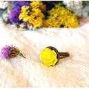 Inel Stil Vintage Romantic Shabby Chic Baza Bronz Antichizat Aspect Invechit Cabochon Trandafir Rasina Galben