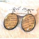 Cercei Stil Vintage Cabochon Sticla si Tortite Bronz Antichizat Print Special cu Portativ Note Muzicale Lectia de Muzica 2