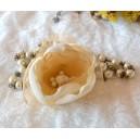 Sirag Lung Stil Vintage Perle sticla Bej cu Brosa Floare detasabila