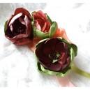 Accesoriu Floral Statement tip Brosa Multipla cu Flori Textile Bordo, Roz Prafuit, Verde