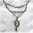 Colier Stil Vintage Victorian cu Cabochon Sticla Flori si Perle de Sticla Colorata Mov si Verde-Inchis