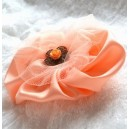 Broșă Material Textil Tafta și Tulle Roz Somon Floare de Basm