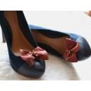 Accesorii pentru Pantofi Fundite Detasabile cu Clips Embelishment Grena Marsala