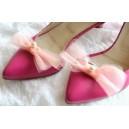 Accesorii pentru Pantofi Fundite Decorative Detasabile din Tulle Roz Somon cu Perle