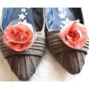 Accesoriu Flori pentru Pantofi din Tafta si Tulle Roz Prafuit