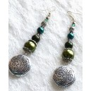 Cercei Mari Lungi Stil Oriental cu Perle și Mărgele de Sticlă